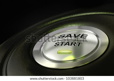 abstract save start button, metal material, green color and black textured background. Focus on the main word and blur effect. saving money concept