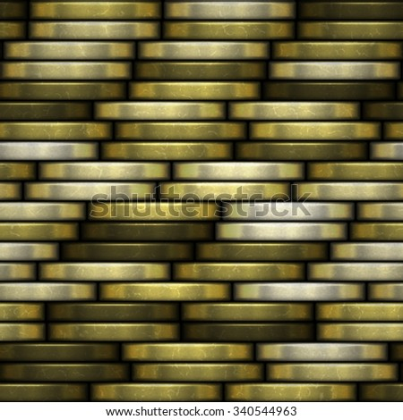 Abstract seamless background of gold coins stacked