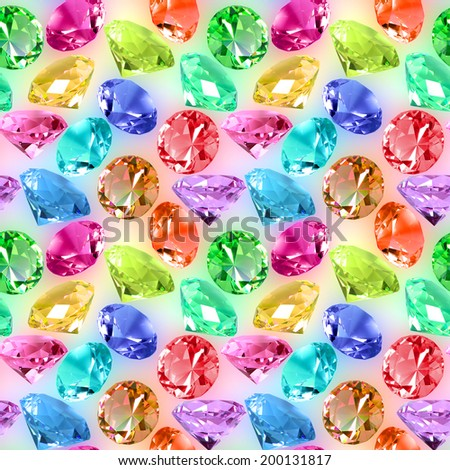 Abstract seamless pattern of motley transparent crystals on spots background. Close-up. Studio photography.