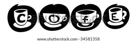 Abstract sign cup of coffee on black circle