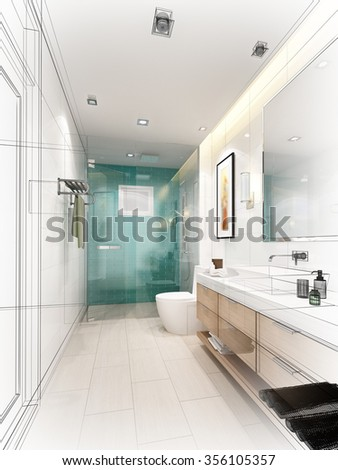 Spacious Bathroom Gray Tones Heated Floors Stock Photo