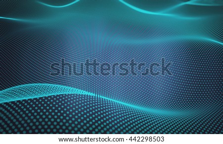 Abstract space background, geometry surfaces, lines and points. 3D illustration