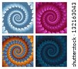 Abstract spiral background set. Raster Version - stock photo
