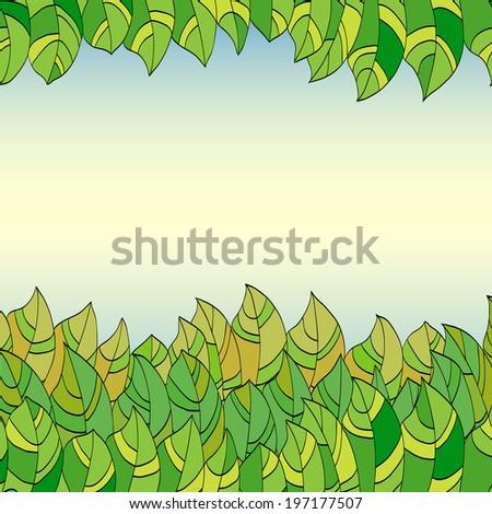 abstract summer frame of green leaves