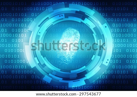 Abstract technology background.Security system concept with fingerprint Letter P sign