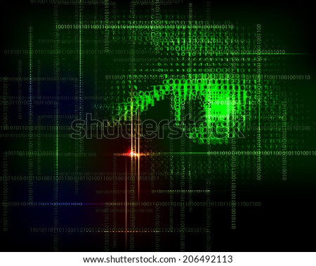 Abstract  technology trendy  background with  binary code. Raster version.