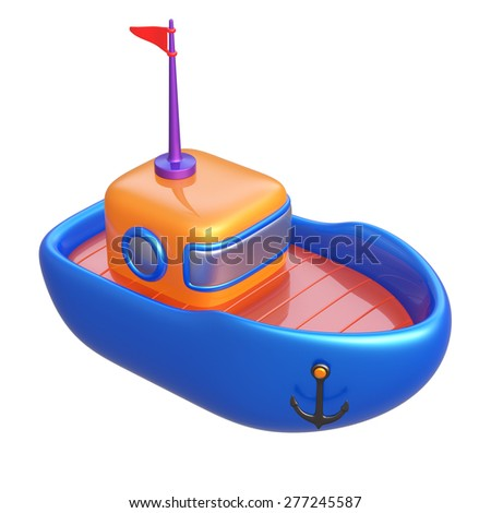 Abstract toy boat isolated on white background. 3d render.
