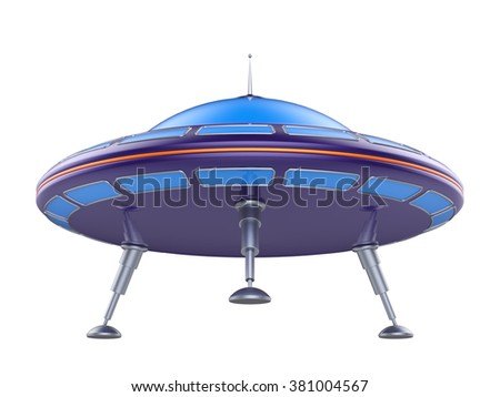 Abstract toy ufo isolated on white background. 3d render.