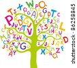 Abstract tree with colorful letters isolated on White background. - stock photo