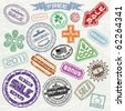 Abstract vintage sale stamp collection - ready for your original design project - stock vector