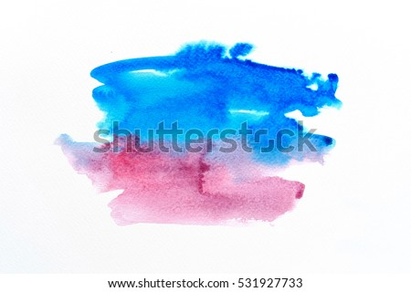 Abstract watercolor brush background on white paper.