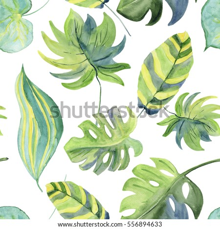 Abstract watercolor hand painted backgrounds with beautiful green leaves