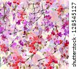 Abstract watercolor hand painted backgrounds with sakura and orchid. - stock photo