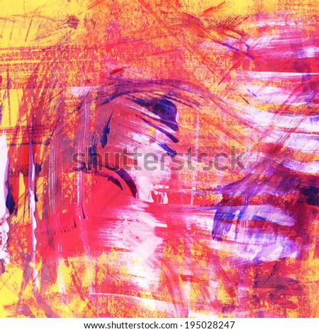 Abstract watercolor strokes painting on orange background