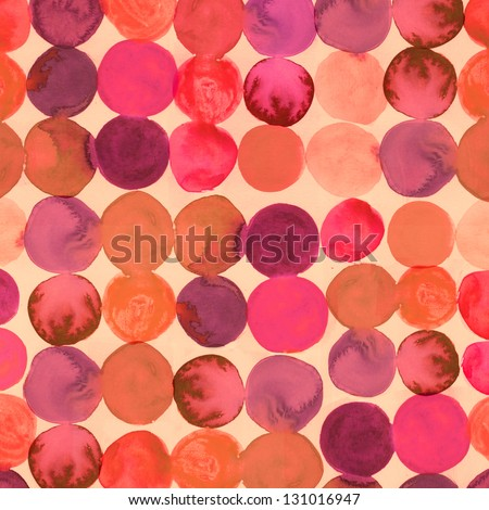 Abstract watercolored geometric circles seamless background stock