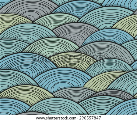 Abstract wave seamless background. Raster version