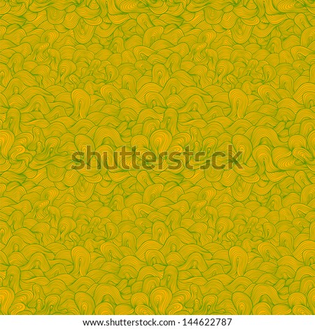 Abstract wavy raster seamless pattern, green and yellow colors.