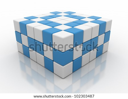 Abstract white and blue cubes