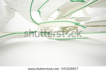 Abstract white interior highlights future with glossy lines. Polygon colored drawing. Architectural background. 3D illustration and rendering