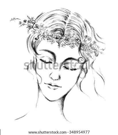 Abstract women face with flower crown in black line art