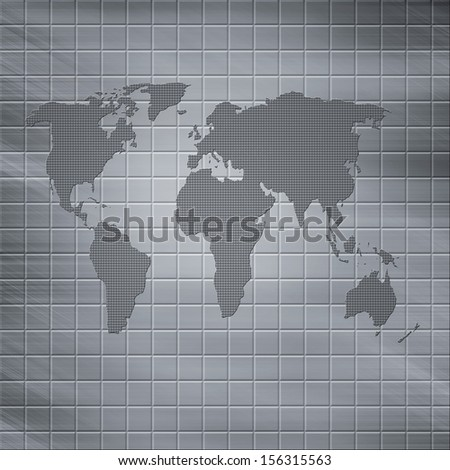 Abstract  world on steel background. Concept of technology background