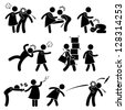Abusive Wife Girlfriend Weak Husband Boyfriend Stick Figure Pictogram Icon - stock photo