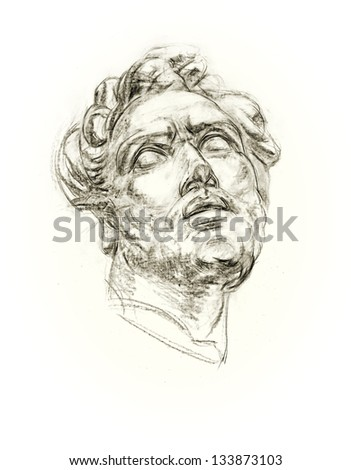 Academic drawing antique gypsum head. Hand-drawing in pencil