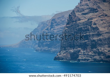 Acantilados de Los Gigantes (Cliffs of the Giants) in Tenerife. vertical cliffs along the western coast of Tenerife. Vertical walls reaching heights of 500 metres in some places.