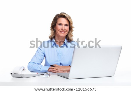 Accountant business woman with a laptop computer. Isolated on white background.
