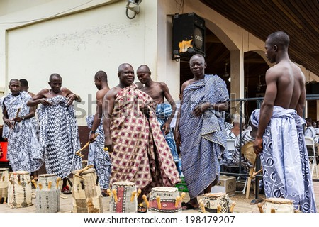 ACCRA, GHANA - MARCH 4, 2012: Unidentified Ghanaian people prepare themselves for the local musical street show in Ghana. Music is the main kind of entertainment in Africa