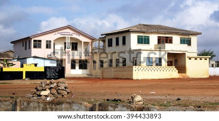 Accra. Ghana - September 17, 2013: Urban view with old houses in developing countries of West Africa.