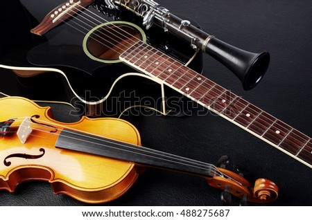 Acoustic guitar, violin, clarinet