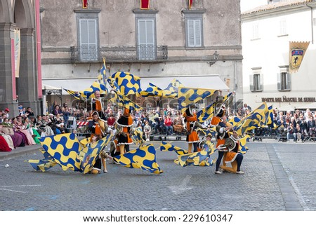Acquapendente, ITALY - MAY 18 2014 - Festa dei Pugnaloni, Festival in the City Center
