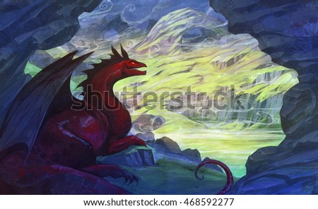 Acrylic illustration of a red dragon in a cave