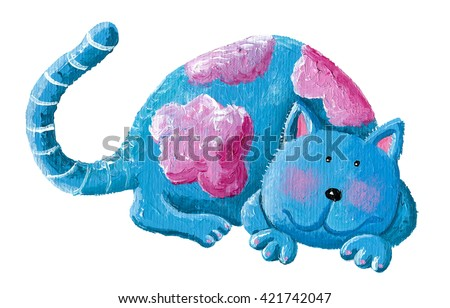 Acrylic illustration of cute blue cat - artistic content