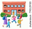 Acrylic illustration of Primary School - stock photo