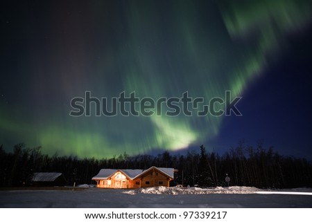 Active aurora display in March 2012. Southcentral Alaska