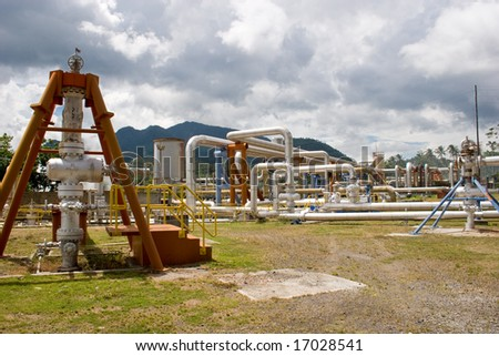 active geothermal wells that supply steam to a power facility