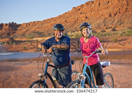 Active Senior Couple on a Bike ride in Southwest U.S.