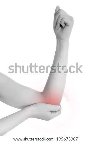 Acute pain in a woman elbow. Female holding hand to spot of elbow pain. Concept photo with Color Enhanced skin with read spot indicating location of the pain. Isolation on a white background.