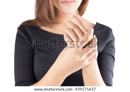 Acute pain in a women wrist, isolate on white background