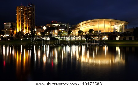 Adelaide Skyline with a reflection in the waters of the Torrens River