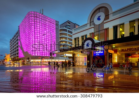 Adelaide, South Australia - August 11, 2015: One of the many illuminated decorations placed on the UPark above the Hungry Jacks on Rundle Street near Rundle Mall.