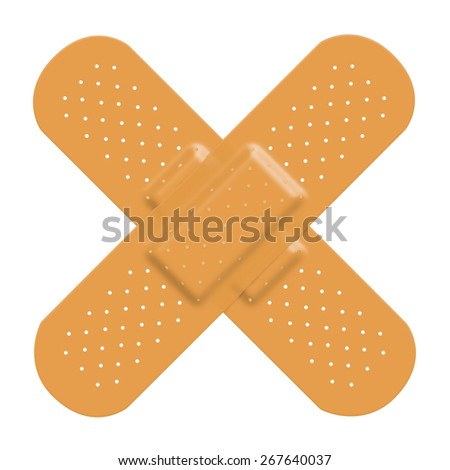 Adhesive bandage plaster cross to represent damage or pain and a solution. Isolated on a white background with clipping path.