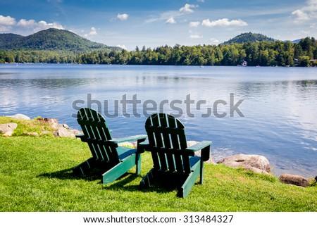 Adirondack Chairs. Mirror Lake, Lake Placid New York. Summer, Vacation,  Outdoors