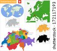 Administrative division of the Swiss Confederation - stock photo