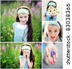 Adorable child girl summer time collage, set of 5 pictures - stock photo