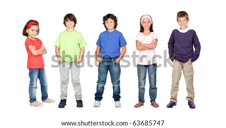 Adorable children, two girls and three boys isolated on a over white background