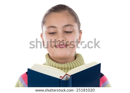 Adorable girl with reading a book on a over white background