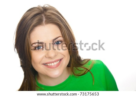 Adorable smiling woman portrait, isolated. Face only. Copyspace.